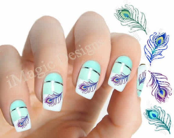 Water Nail Art: Nail Art Decals Water Slide Nail Stickers Peacock Feather