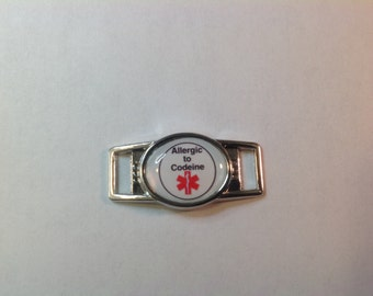 """Medical Alert """"Allergic to Codeine"""" Paracord  Shoe Lace Charm (1)"""