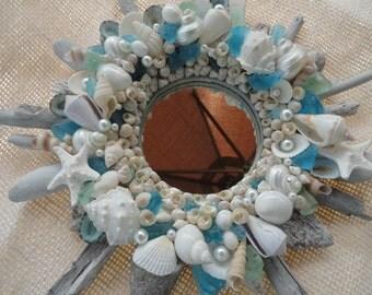 Seashell mirror, driftwood mirror, coastal decor, beach decor, coastal mirror, shell mirror, nautical decor