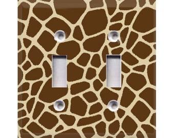 Giraffe Print Double Light Switch Cover