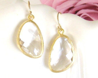 Gold Bridesmaid Earrings Clear Crystal Earrings Gold Earrings Gold Drop Earrings Crystal Bridal Jewelry Simple Classic Wedding Jewelry Gift