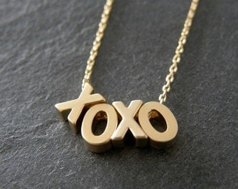 XOXO Gold Necklace, Hugs and Kisses Necklace, Gift for Her