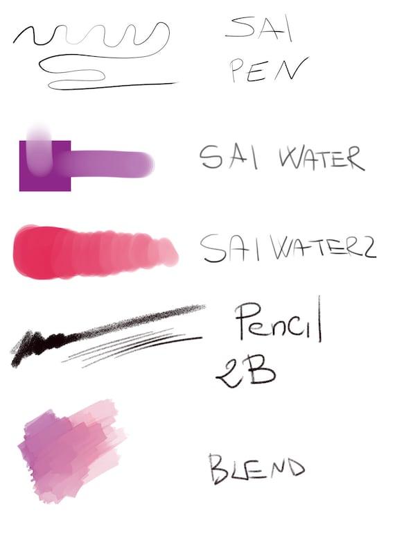 Sai brushes for manga studio clip paint blender