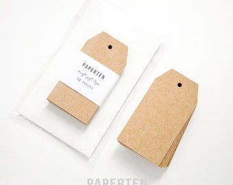 Kraft Gift Tags (Medium) - Blank Gift Tags - Blank Shipping Tags - Shipping Label Gift Tags - Thick Kraft Tags - Set of 20 (Item Code: W512)