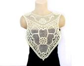 Lace necklace, Crochet necklace, Handmade Cotton Lace Collar, Back lace or necklace, Bib crochet, Cream, Big Necklace, Woman Applique