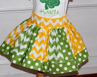 chevron skirt girls skirt yellow and green chevron and polkadot skirt Notre Dame clothing Tinker Bell Tinkerbell outfit tinker bell skirt