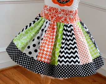 girls Halloween skirt chevron polka dot quatrefoil skirt chevron skirt orange lime green and black skirt  toddler girl Halloween