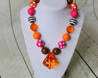 girls bubblegum necklace girl chunky bubblegum bead necklace orange hot pink brown necklace fall necklace birthday necklace