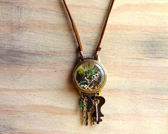N83 Vintage Watch Parts and Skeleton Key Treasures Necklace -- FREE SHIPPING