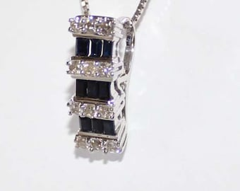 Round Diamond & Sapphire Pendant 18k white gold - 5mm wide - sku 80273