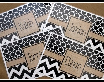 Personalized Burlap Look Placemats Custom Place Mats Monogrammed Laminated Placemats Design Your Own Monogram Place Mat Kitchen Decor Dining