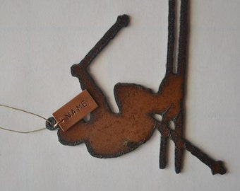 SKIER made of Rustic Rusty Rusted Recycled Metal Custom PERSONALIZED SKIER / Ski / Winter Ornament or Magnet