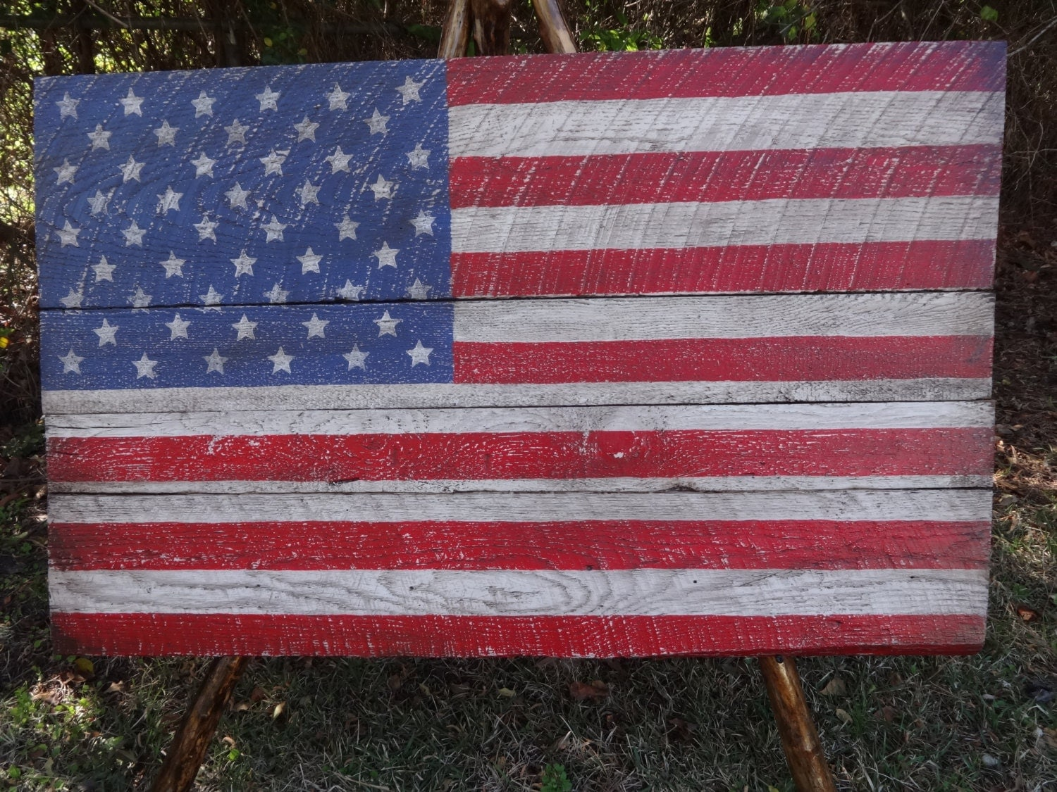wood american flag wall hanging distressed patriotic heavy. Black Bedroom Furniture Sets. Home Design Ideas