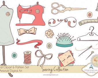 Hand Drawn Sewing Supplies Clipart & EPS Vector Art Set  for Banners, FB Covers, Cards, Backgrounds,Scrapbooking and Webdesign-2014/30