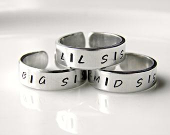 Sisters Hand stamped custom made rings. Big Sis, Mid Sis, and Lil Sis.