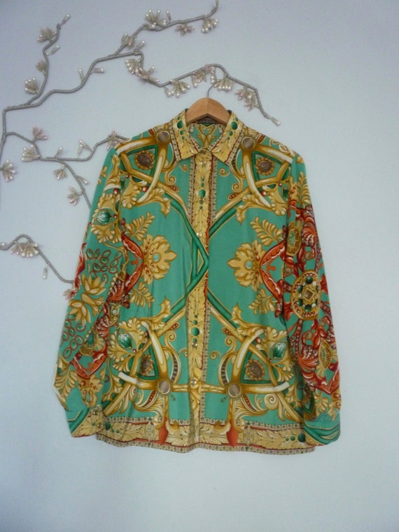 Versace style 80s baroque print blouse. Versace style print top Devernois Made in France shirt. Scarf print blouse. 80s Versace print blouse