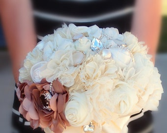 Fabric Bouquet-Brown and Ivory