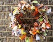 "Hand made rustic AUTUMN RAG WREATH 13"" for your door, home or shop in green,orange,yellow,brown,black fabric and ribbon"
