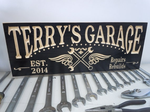 Personalized Garage Signs : Personalized garage sign custom made business carved wooden