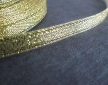 """25 Yards Sparkle Gold Organza Ribbon, ~1/4"""" Wide Gold Double Sided Ribbon, 6mm Wide Sparkle Ribbon, Roll of Gold Ribbon, 22 M"""