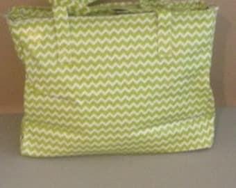 Monogrammed Diaper Bag - Green Chevron
