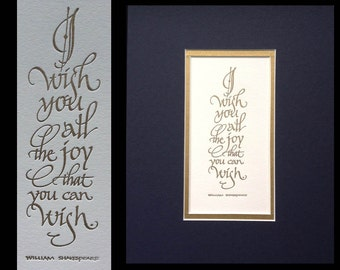 8x10 Shakespeare Quotation in Letterpressed Calligraphy
