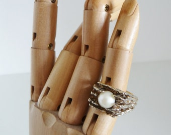 Vintage Silver Ring Solid Silver Gilt And Real Pearl Ring Hand Made Circa 1970's UK Size S