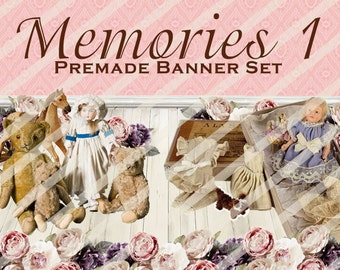 """Banner Set - Shop banner set - Premade Banner Set - Graphic Banners - Facebook Cover - Avatars - Bisiness Card - """"Memories 1"""""""