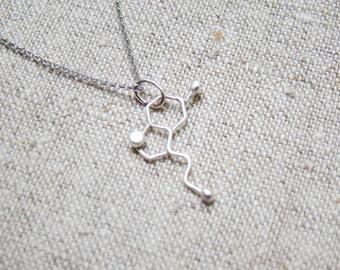 Silver Molecule necklace - serotonin molecule necklace, Happiness silver molecule jewelry