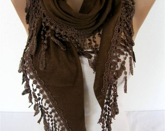 Brown Scarf-Elegant scarf - Fashion scarf - scarves -Triangular Shawl- Gift Scarf