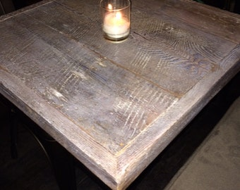 reclaimed wood pub table, table top,whitewash,24 x 24,add your  base