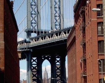 Print, Urban Landscape, Manhattan Bridge, DUMBO Brooklyn, New York City USA, May 2008
