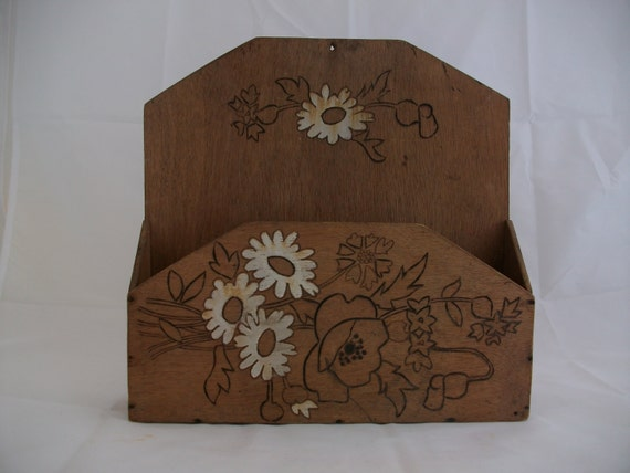 Vintage Letter Rack French Pyrographic Wood Wall Tidy Letter