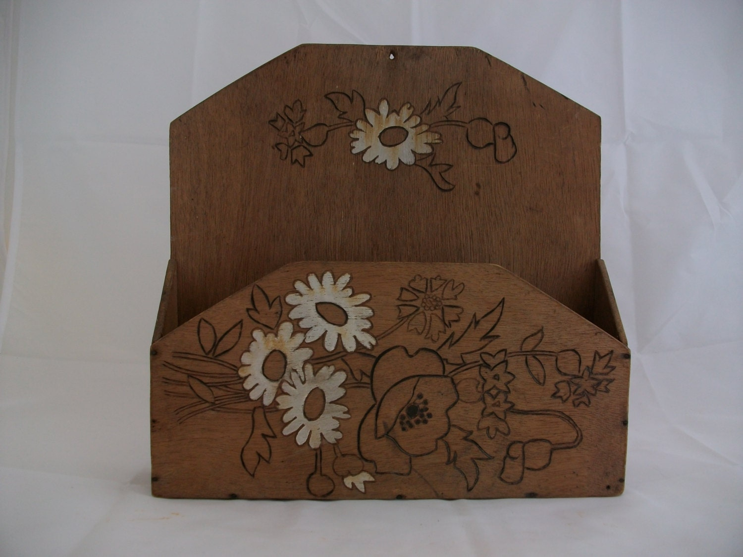 Vintage Wall Tidy Letter Rack French Pyrographic Flowers