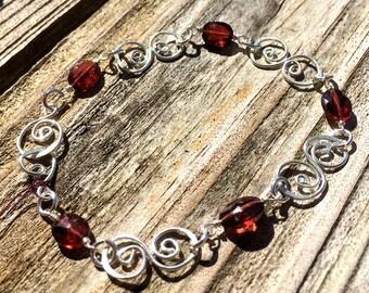 Natural garnet and sterling silver bracelet