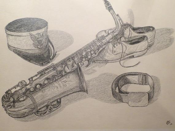 Crayon original dessin du saxophone chaussures et chapeau de - Dessin saxophone ...