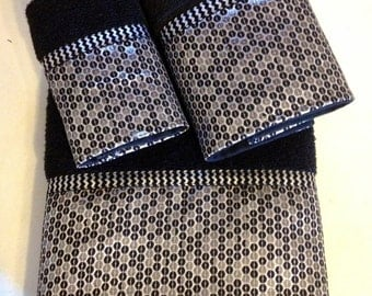 Black and Silver Chevron Bath Towels (Ready To Ship)