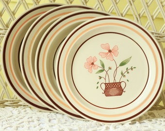 Bread and Butter Plates, Dessert Plates, Antique Dishes, Retro Dessert Plates,  Appetizer Plates, Pink Floral Plates,  Pink Posies