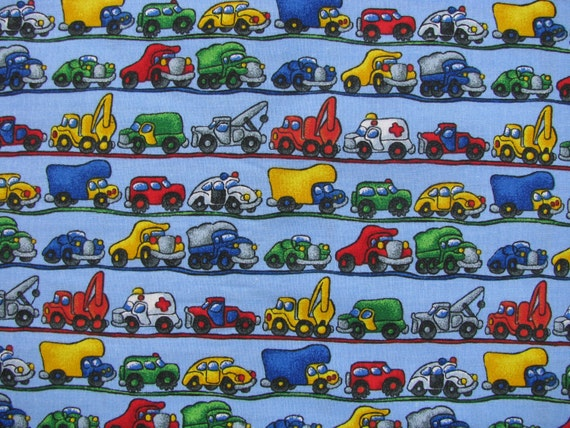 Cars and trucks cotton fabric 1 yd by fifisfabricsandfinds for Little blue truck fabric