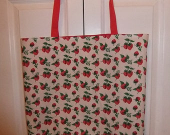 Red and Green Strawberry Cotton Print Tote with Red Handles and Lining