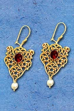 Gold Esther Earrings. Vintage handmade special jewelry and Judaica designer. represents the royalty Jewish Queen, Esther. Graced by Garnets.