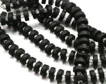 "36PC (8.5X3.5mm) Black HEISHI Button Spacer Cultured Sea Glass Beach Glass Beads - 8"""