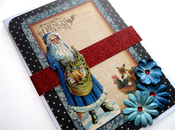 Holiday Greeting Card - Vcitorian Santa Christmas Yule - Handmade Holidays