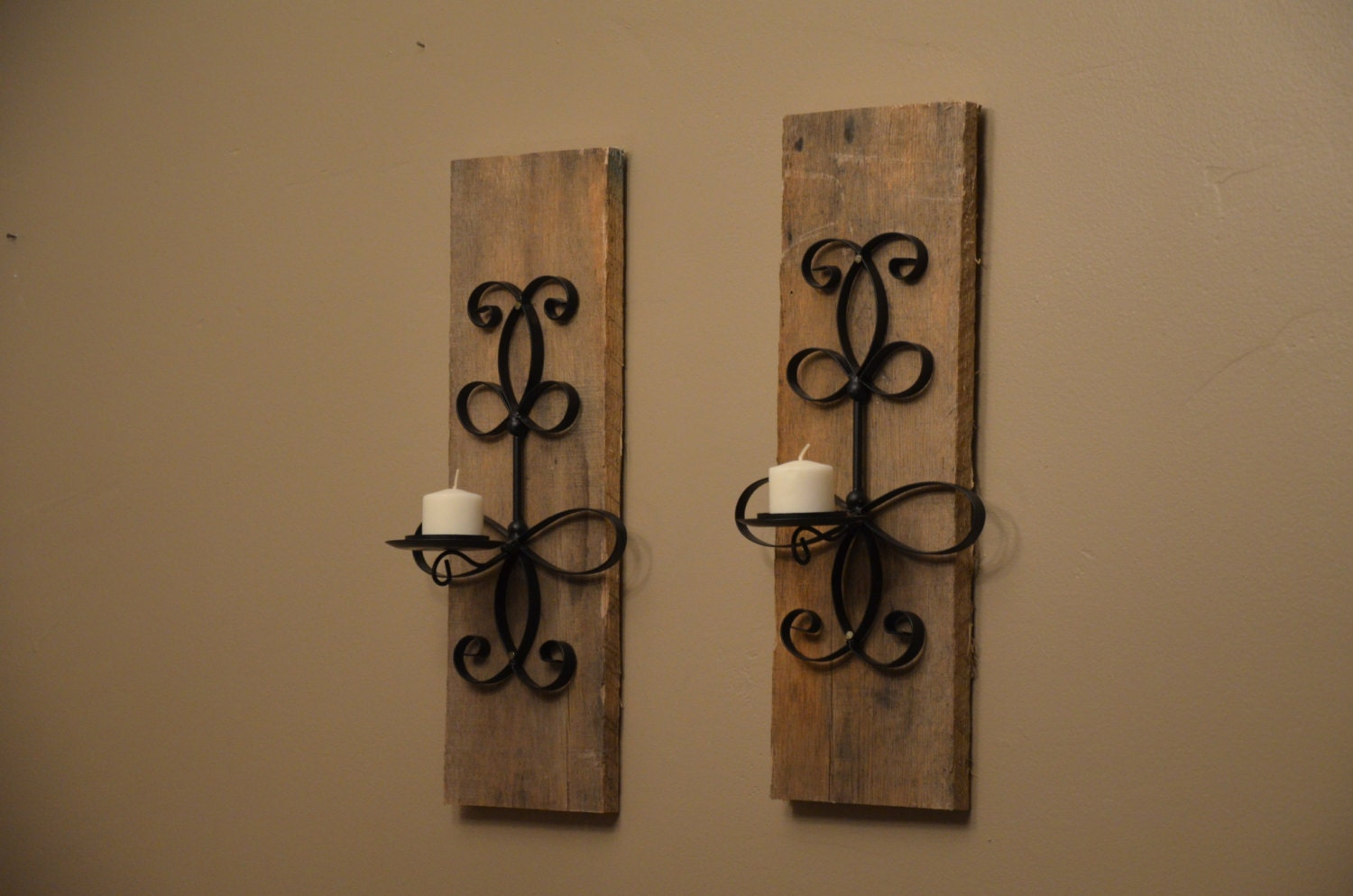 Rustic Reclaimed Wood and Wrought Iron Wall by TwoVintageDrums