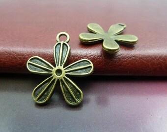 30pcs 20x23mm Antique Bronze Flower Charms Pendants Jewelry Findings AH2606