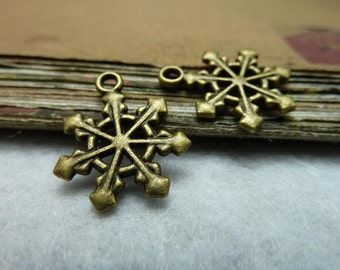 50pcs 17x20mm Antique Bronze Christmas Snowflake Charms Pendants Jewelry Accessories Ac7735