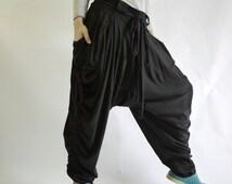 Plus size Women Men Pants - Boho Funky Hippie Stylish Steampunk Pants In Black Stretch Cotton - P020