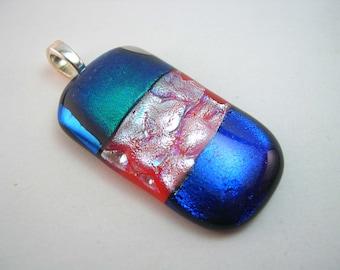 Dichroic Pendant, Fused Glass pendant, fused dichroic pendant, blue and green silver pendant