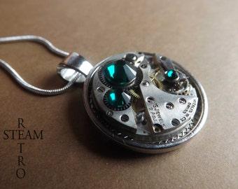 10% off sale16 Swarovski Crystal Steampunk necklace Emerald - Steampunk Jewelry by Steamretro - Steampunk Jewellery