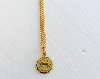 Taurus zodiac raw brass charm necklace, brass April 20-May 20, #LLVZN1011